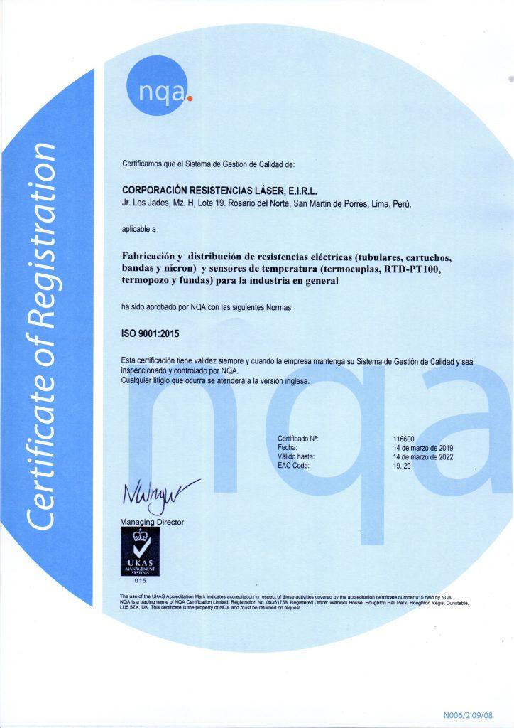 Certificado de Calidad ISO-9001-2015