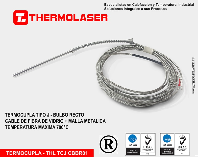 TERMOCUPLA TIPO J BULBO RECTO CON RESORTE DE PROTECCION DE CABLE